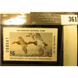 1990 Iowa Migratory Waterfowl Stamp, #IA19, not signed, XF, NH, perfs on four sides.