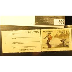 1988 Missouri Migratory Waterfowl Stamp, M10a, unsigned, VF, NH. Canvasback Duck.