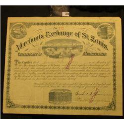 "Jan. 3rd, 1882 9 3/4"" x 11 1/2"" ""Merchants Exchange of St. Louis Certificate of Membership"", with vi"