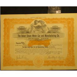 """Sept. 16, 1920 Capital Stock Certificate for 2,000 Shares in """"The Baker Steam Motor Car and Manufact"""