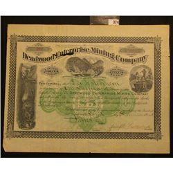 """November 3rd, 1884 1,000 Shares of Capital Stock in """"Deadwood Enterprise Mining Company…Territory of"""
