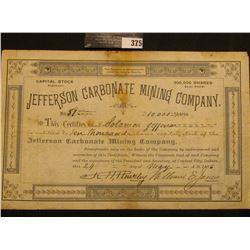 "May 24, 1886 ""10,000 Shares Capital Stock Jefferson Carbonate Mining Company…Central City, Dakota""."