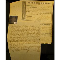"""Two attached Certificates for Shares and a Stock Transfer in """"Office of the Iowa Central Air Line Ra"""