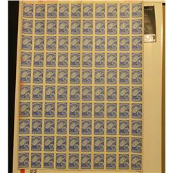 """Sheet of (100) """"West Virginia Liquor Control Commission"""" Stamps with pink paper backing, numbered 10"""