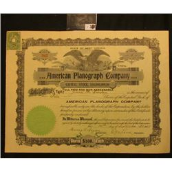 """Capital Stock Certificate for Five Shares of """"State of West Virginia …American Planograph Company"""","""