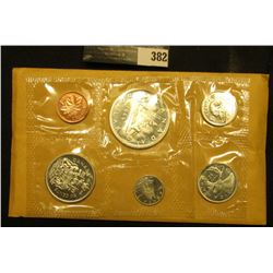 1966 Canada six-piece Mint Set with .800 Fine Silver Voyageur Dollar in original envelope as issue.