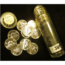 1965 Canada 'Beaver' Original Brilliant Uncirculated Roll of Nickels in a plastic tube. (40 pcs.).