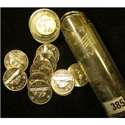 1966 Canada 'Beaver' Original Brilliant Uncirculated Roll of Nickels in a plastic tube. (40 pcs.).