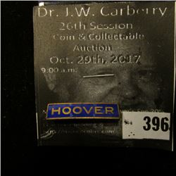 """""""Hoover"""" Pin-back Blue Enamel with gold lettering, bar type pin with original paper """"The Next Presid"""