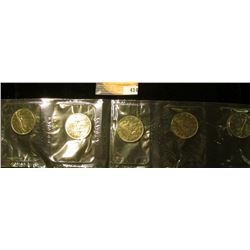 Mint Sheet of (5) 1969 Canada Dollars. In original government cellophane, Gem BU.