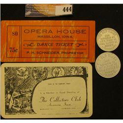 """The Collectors Club Anamosa, Iowa"" blank card; ""Opera House Massillon, Iowa Dance Ticket Ticket 75c"