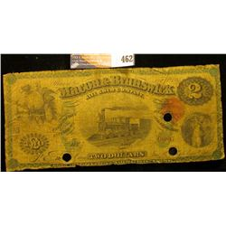 "April, 1st, 1867 Two Dollar Banknote ""Macon & Brunswick Rail Road Company"" Macon, Georgia, central v"