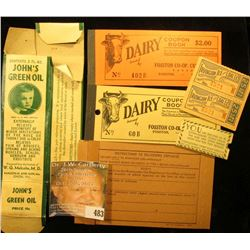 "(2) Different Dairy $2.00 Coupon Books from ""Fosston Co-op. CR'Y Ass'n, Fosston, Minnesota""; ""F.W. W"