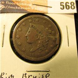 1838 U.S. Large Cent, VG. Rim Bruise.