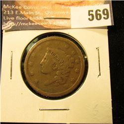 1838 U.S. Large Cent, G-VG.
