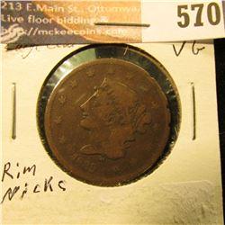 1839 U.S. Large Cent, VG.