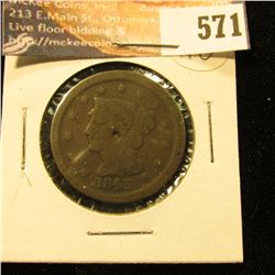 1843 U.S. Large Cent. AG. Punch mark in center obverse.