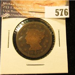 1847 U.S. Large Cent, AG.