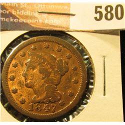 1847 U.S. Large Cent, Fine.