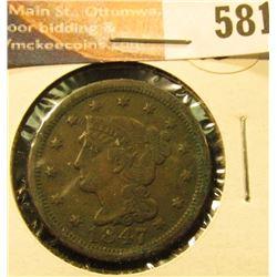 1847 U.S. Large Cent, VG.