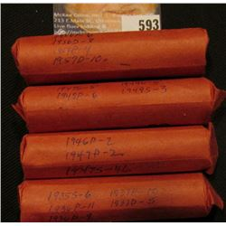 (4) Rolls of Lincoln Cents, sorted by date. Includes 1935S to 58D only.