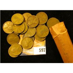 1917 P Solid Date Roll of Lincoln Cents in a paper wrapper.