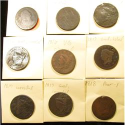 (9) U.S Large Cents from Draped Bust to 1818, With Various Wear and Damage.
