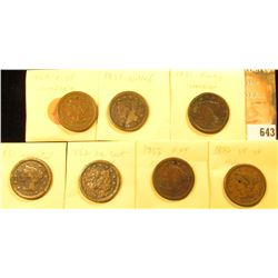 (7) U.S. Large Cents 1850-1856 with Various wear and damages.