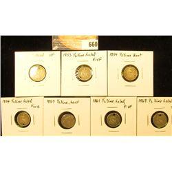 1867 VF Hold, 3-Cent Nickel, 1853 F-VF Holed, 1854 VG Bent, 1854 F Holed, 1857 G Bent, 1861 F-VF Hol