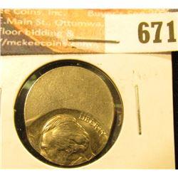 No-Date 50% Off Center Struck Jefferson Nickel. BU.
