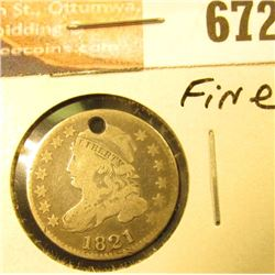 1821 Bust Dime, Fine Holed.