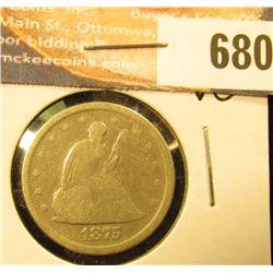 1875 S 20-Cent Piece, VG.