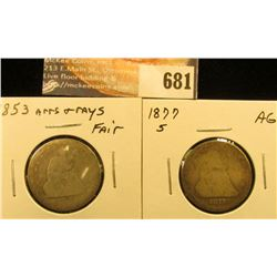 1853 R&A Fair and 1877 S AG Liberty Seated Quarters.