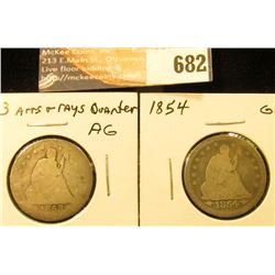 1854 Arrows G and 1853 R&A AG Liberty Seated Quarters.