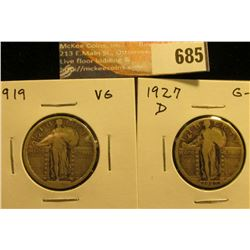 1919 VG and 1927 D G-VG Standing Liberty Quarters.