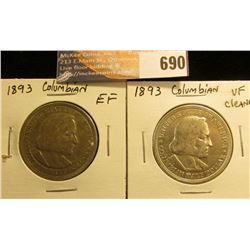 (2) 1893 Columbian Exposition Half Dollars, VF-EF.