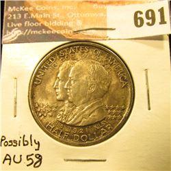 1921 Alabama Commemorative Half Dollar, AU-58 Original Toning.