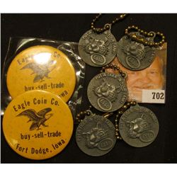 "(2) Advertising mirror ""Eagle Coin Co. buy-sell-trade Fort Dodge, Iowa""; military buckle with Wings;"