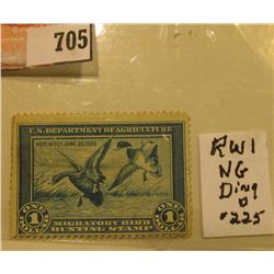 1934 RW1 U.S. Federal Migratory Waterfowl $1 Stamp, unused, Ding Darling was the artist. Small pin h