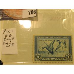 1934 RW1 U.S. Federal Migratory Waterfowl $1 Stamp, unused, unsigned, mint condition. Ding Darling w