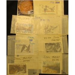 (7) different 1970s & 80s Iowa Migratory Waterfowl & Habitat Stamps. All signed and used.