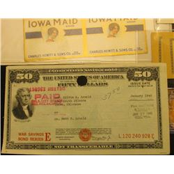 Unissued 1880 era State of Iowa Physician's Certificate of Death State Board of Health; (5) small Wh