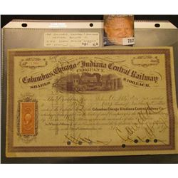"January 30, 1869 Stock Certificate for 50 Shares of ""Columbus, Chicago and Indiana Central Railway C"