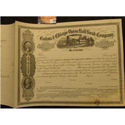 "Unissued 1860 era ""Galena & Chicago Union Rail Road Company"" Stock certificate, depicts steam engine"