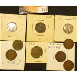 1900-08 (all inclusive) Set of U.S. Indian Head Cents. (9 pcs.).