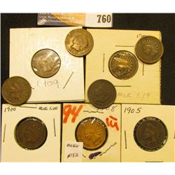 1900-03, 05-09 Set of U.S. Indian Head Cents. (9 pcs.).