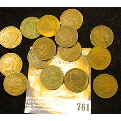 (3) 1901, (8) 1902, (3) 1903, & (1) 1909 U.S. Indian Head Cents. (15 pcs.).