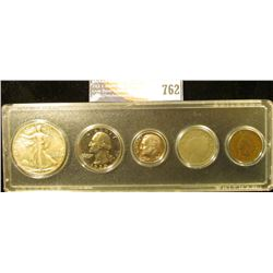 Snaptite case containing 1904 Indian Cent, 1906 Liberty Nickel, 1978S Proof Dime, 1970 S Proof Quart