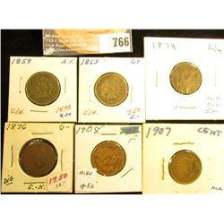 1859 AF, 1863 G+, 1874 AG, 1876 G, 1907 EF, & 1908 F Indian Head Cents.