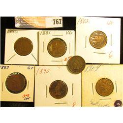 1880 G, 81 VG, 82 G, 83 G, 1890 Fair, 91 F, & 1909 Fine+ Indian Head Cents.